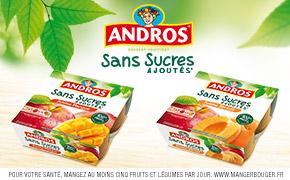 Coupon réduction Andros Desserts Sans Sucres Ajoutés* Tamisés 4x100g